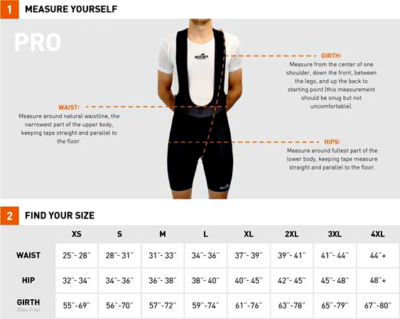 Men's Bib Short Sizing Chart