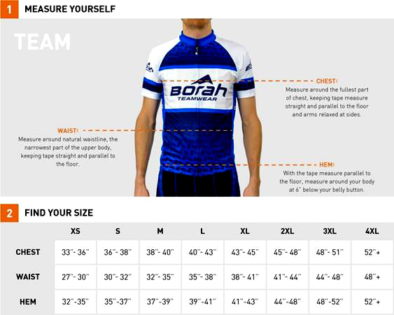 Men's Jersey Sizing Chart