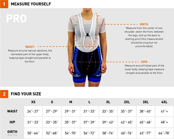 Women's Bib Short Sizing Chart
